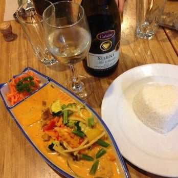 ... seasonal vegetables and tofu cooked in red curry with coconut milk and