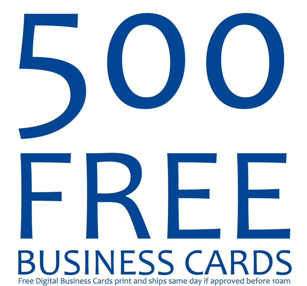 500 Free Business Cards Digital with Hot Prints USA
