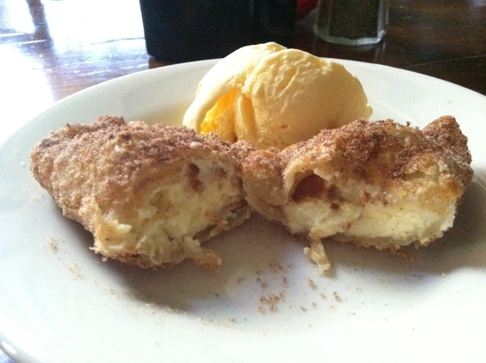 ... dusted with cinnamon sugar served with a scoop of vanilla ice cream