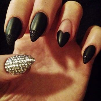 Bridgeport Nails - Tigard, OR, United States. Matte black stilettos