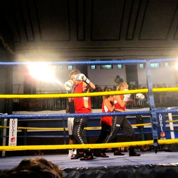 some pretend boxing as part of Book Slam East - in a real boxing ring