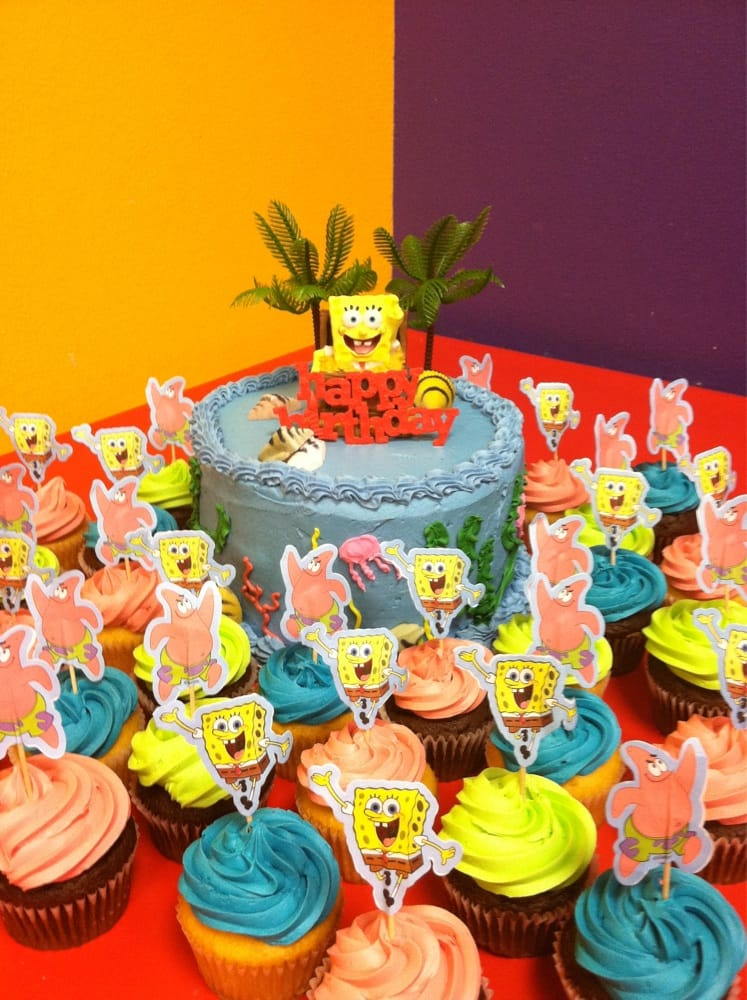 Got sponge bob candle cupcake toppers palm trees sugar for Abc cake decoration