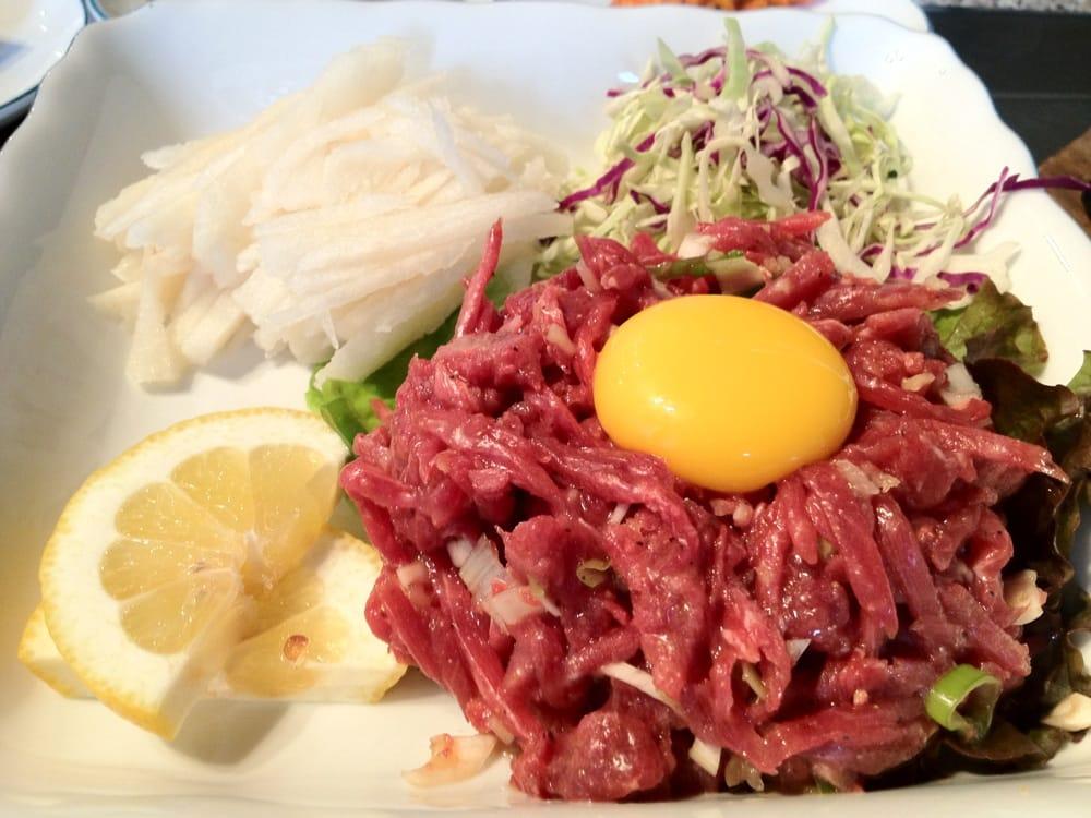 Yuk Hwe: Korean Steak Tartare w/ Sesame Oil, Asian Pear & Raw Egg Yolk ...