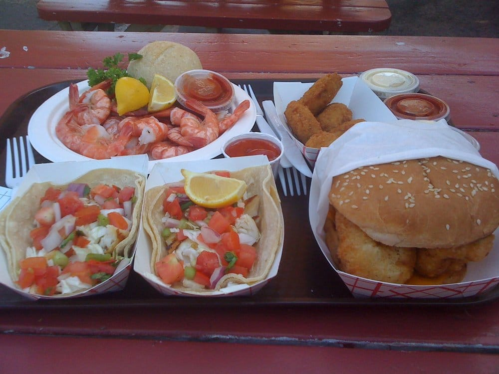 Grilled fish tacos peel eat shrimp fried oysters fish for Malibu seafood fresh fish market patio cafe