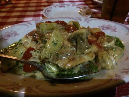 with artichoke hearts, tomatoes, mushrooms, lemon butter, basil pesto ...