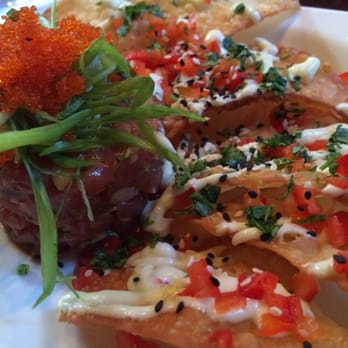 Enterprise fish co ahi tuna sashimi with chips santa for Fish enterprise santa monica