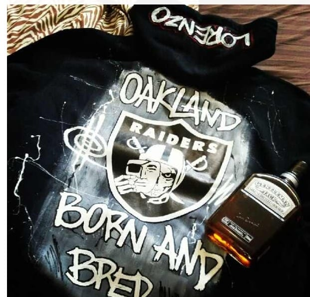 Filthy Dripped - Richmond, CA, United States. Oakland Raiders custom painted Hoodie