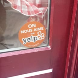 Yelp Approval Sticker in French!