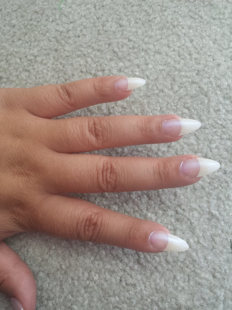 White Tip Acrylic Nails Pointy Acrylic White Tip Pointed