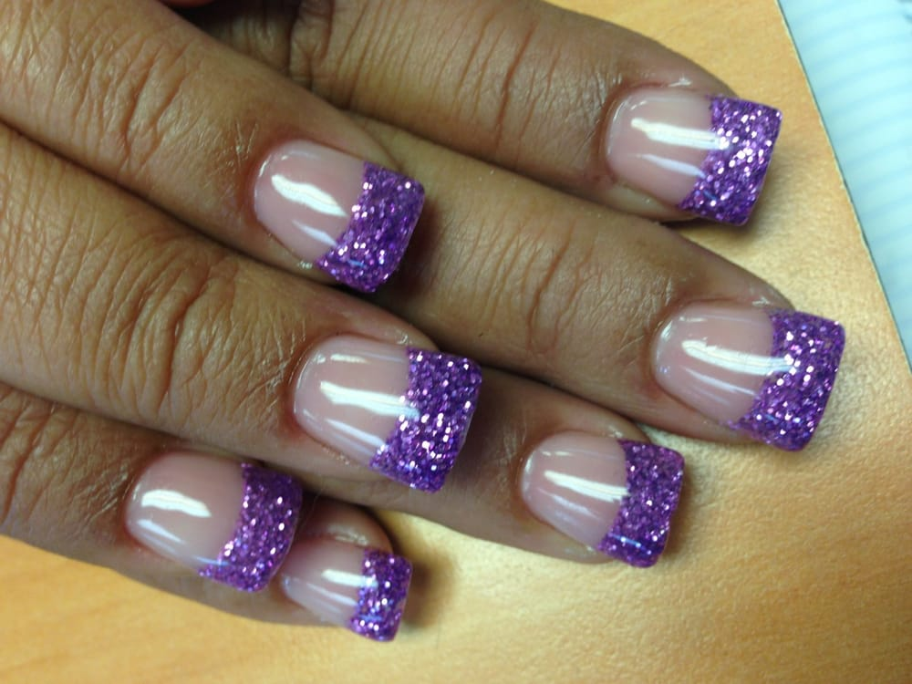 Acrylic nails with purple glitter tip by Lee - Yelp