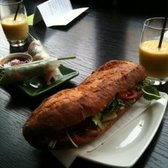 avocado smoothie, prawn spring roll, duck banh mi