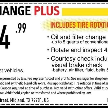 Oil change coupon :D expires 4/30/14