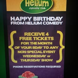 Helium Comedy Club - Call during your birthday month to get 4 free tickets to a non-special event (shown on calendar). Still w/two menu item minimum. - Portland, OR, Vereinigte Staaten