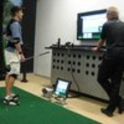Ross Kroeker - Golf Instruction - Salinas, CA, États-Unis. Ross and a student in the 3-D MAT-T Lab.   Highest tech equip for clubfitting and lessons.  NCal's only location at Quail Lodge.