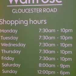Opening hours.