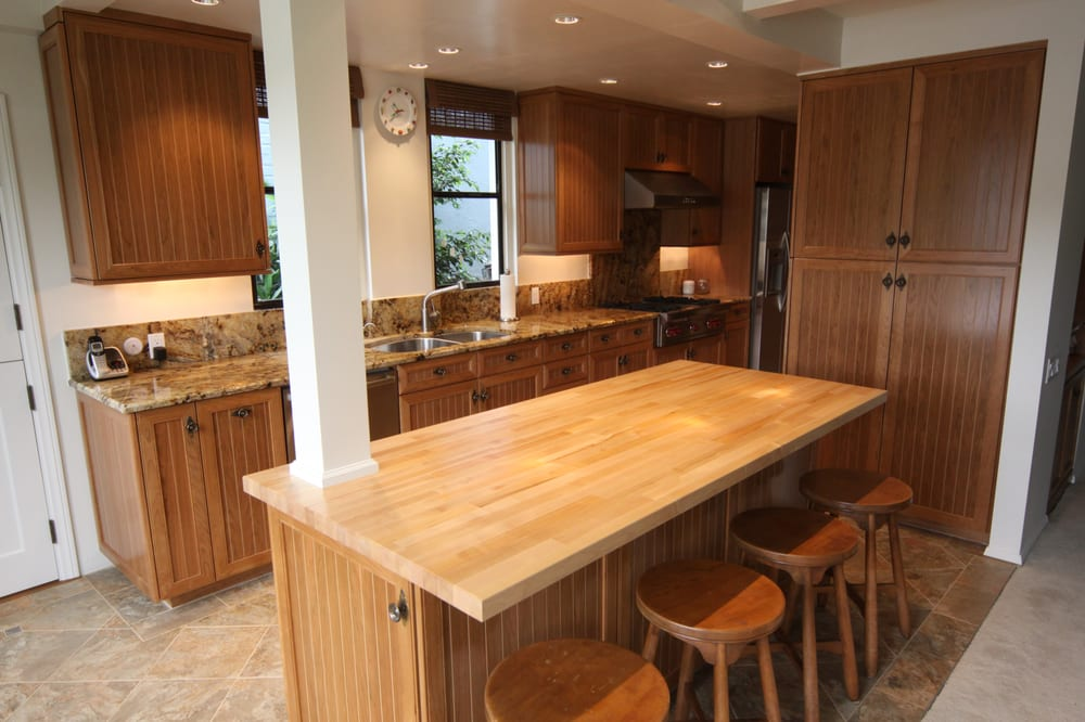 Balboa Island Kitchen Remodel, Cherry Wood Cabinets with Maple Butcher