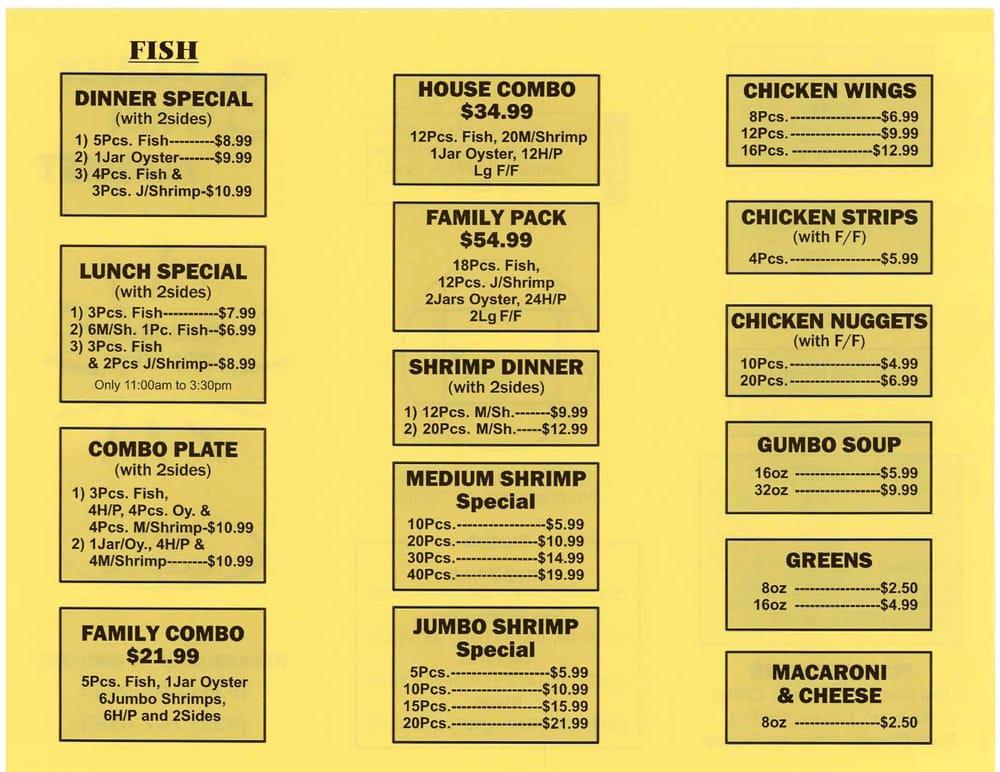 Menu as of 5 2 13 yelp for Two fish menu
