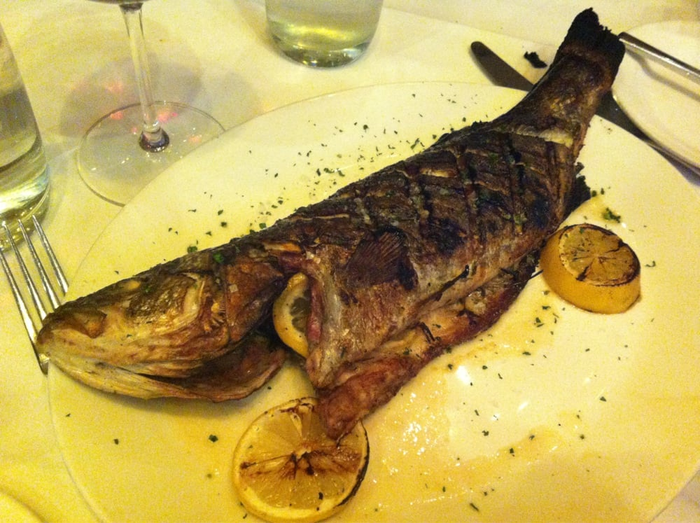 Grilled whole mediterranean sea bass yelp for Emerils fish house