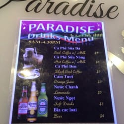 Cafe Paradise San Jose Menu