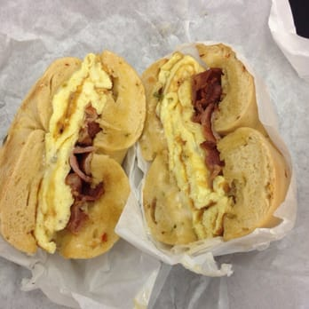 Bagel Guys Bakery - Bacon, pepper jack cheese and egg on a Jalapeño ...