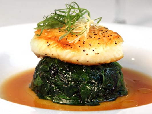 Chilean Sea Bass... Pan-seared & served on a bed of ...