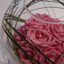 Rose ball in glass globe.