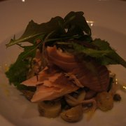 wood smoked salmon with potatoes, greens, and capers