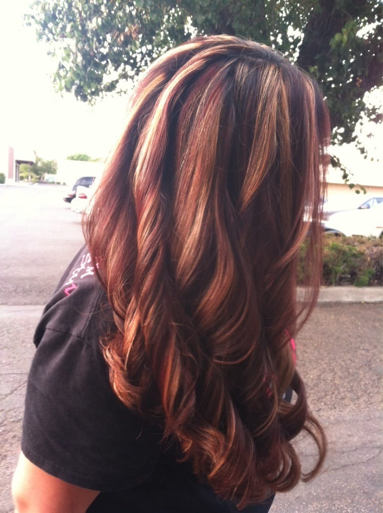 Platinum Blonde Highlights With Mocha And Violet Red Hair