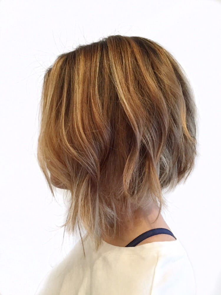 Asymmetrical Bob With Soft Undercut And Blonde Balayage