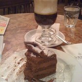 Decadent chocolate/hazelnut mousse cake and Cafe Bailey's (espresso with Bailey's and whipped cream)