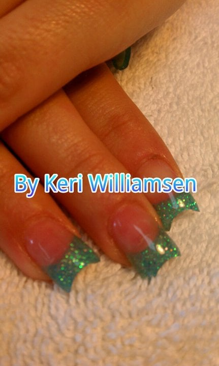 "Nails - Acrylic ""c"" curve glitter nails with gel top coat. - Reno, NV"