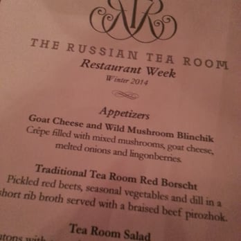Russian Tea Room Menu Ny