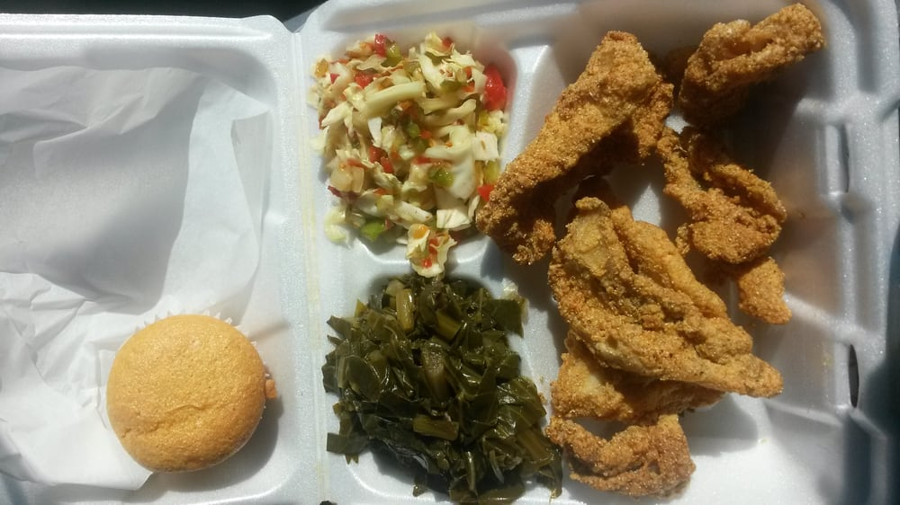 Son's of Shephanie's - Fried catfish greens and bbq slaw cant complai...