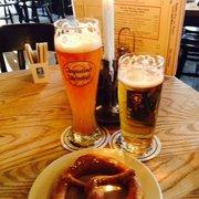 Weisen, Bier Hell (blonde) and pretzel