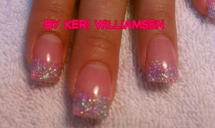 Acrylic Glitter Nails With Gel