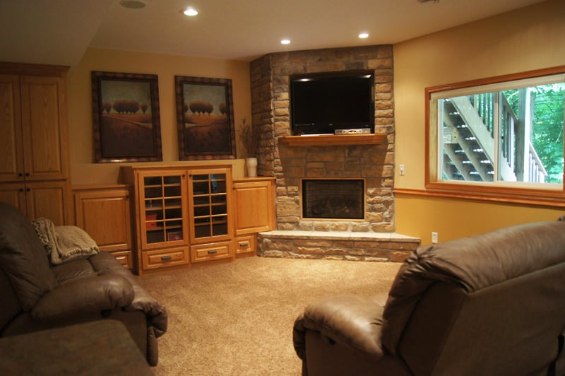 Basement Project Gas Fireplace Custom TV Placement Yelp