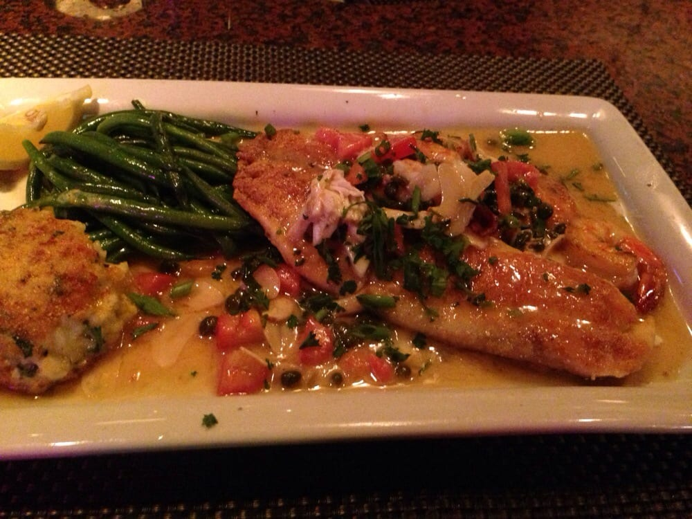 ... , NM, United States. Pan Seared Tilapia w/Shrimp, Crab Cake, & Greens