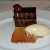 ... Kingdom. Bitter chocolate millefeuille dessert, Roux at the Landau