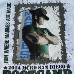 MCRD San Diego Bootcamp Challenge - The back of the 2014 Boot Camp Challenge T-Shirt - San Diego, CA, Vereinigte Staaten