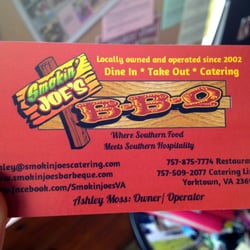 Smokin joes bbq barbeque yorktown va yelp for Bbq catering business cards