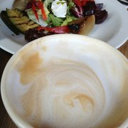 Latte and roasted veggie salad