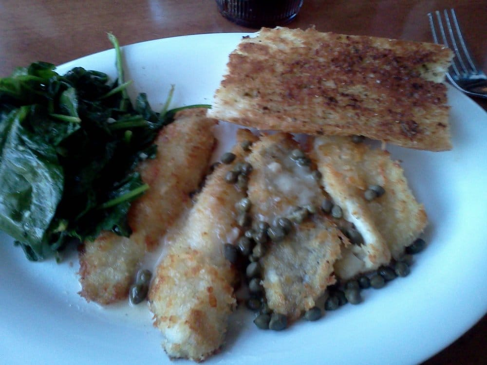 Parmesan crusted sand dabs with sauteed spinach and garlic for Sand dabs fish