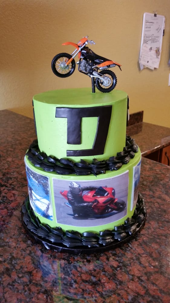 Motocross birthday cake with custom edible images and fondant logos ...