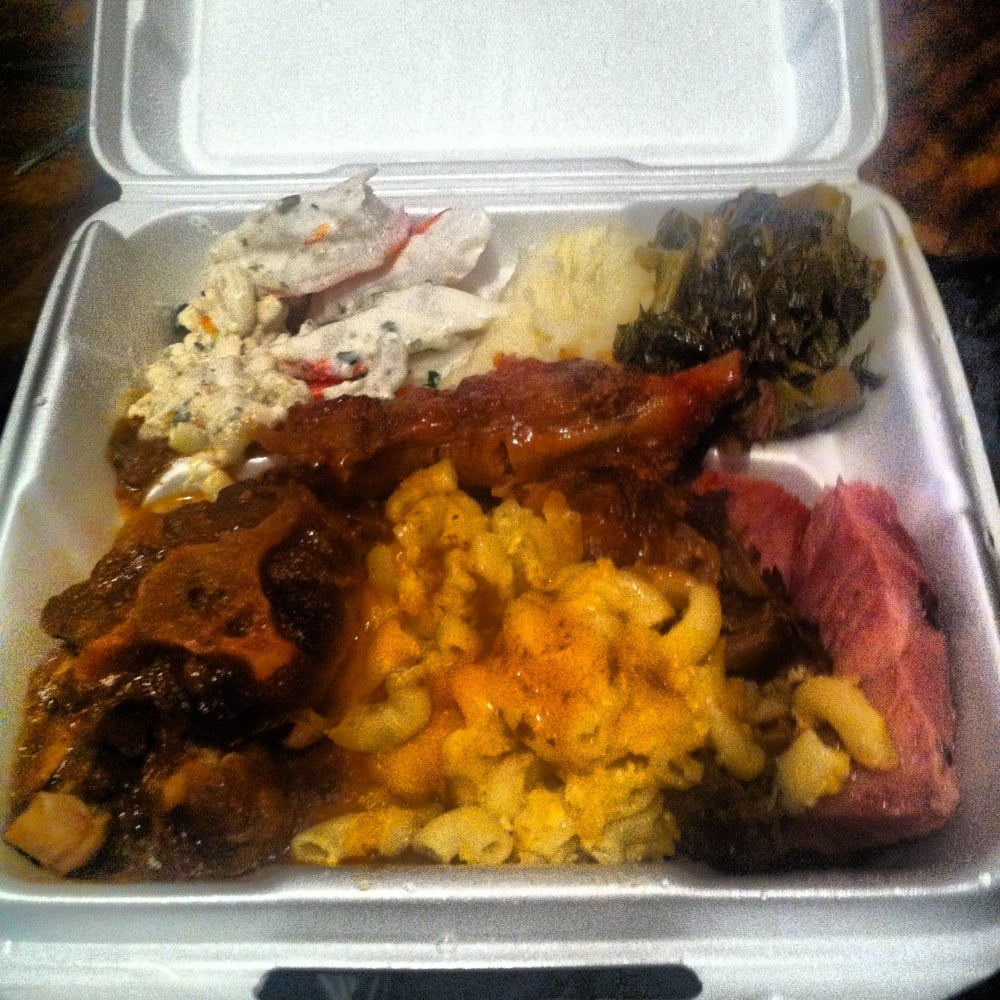 Oxtail, Mac n cheese, jerk chicken, glazed ham, mash potatoes, greens ...
