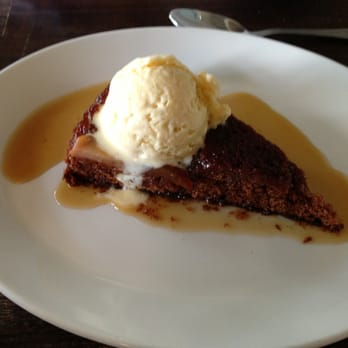 Ginger cake with vanilla bean ice cream.