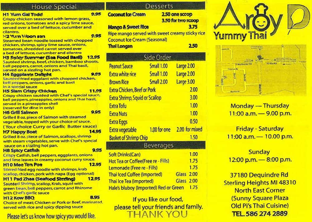 Aroy d thai cuisine geschlossen thail ndisches for Aroy thai cuisine menu