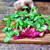 Beetroot cured salmon with capers