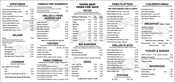 Tin fish oceanside menu featuring their famous fish n for Fish district menu