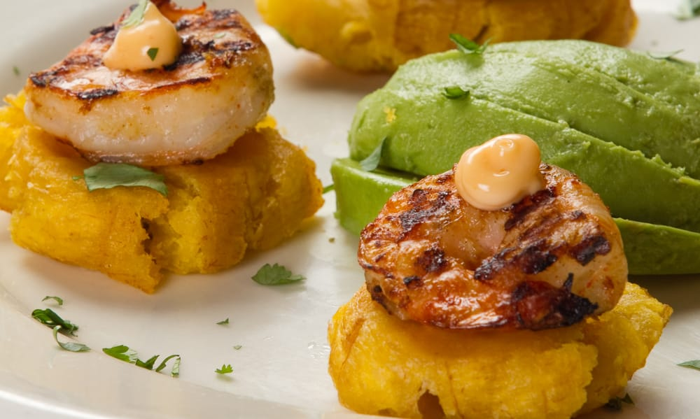 ... Plantains with grilled shrimp, lemon aioli, and cilantro. Amazing