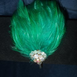 Emerald green bespoke fascinator with vintage crystal beads